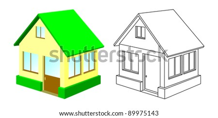 The small house with a green roof and a house contour. The isolated objects on a white background.