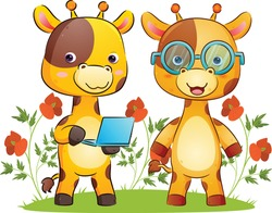 The smart couple of giraffe is holding a laptop with the bright colour in the park of the illustration