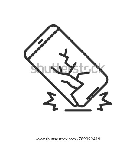 The smartphone falls. Broken screen. linear icon. Line with Editable stroke
