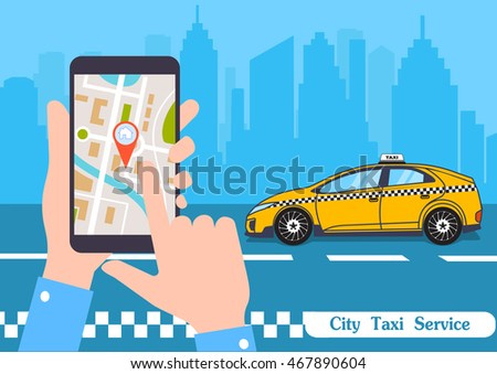 The smartphone with the application of services of a city taxi on ekrane.vector an illustration of smart concept of services taxi online. Stok fotoğraf ©