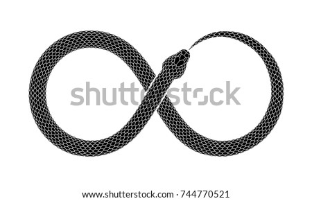 The Snake bites it's tail in the form of a sign of infinity. Ouroboros symbol tattoo design. Vector illustration isolated on a white background.