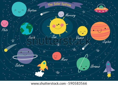 The Solar System. Vector illustrations of the planets of the Solar System in cartoon style.