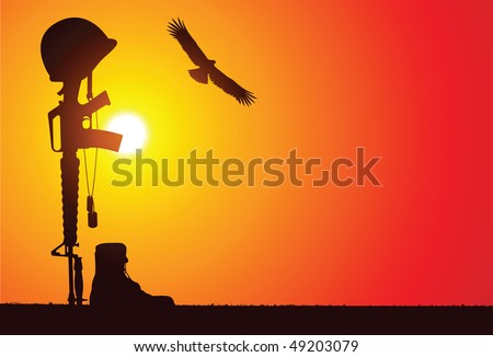 the soldier's rifle with