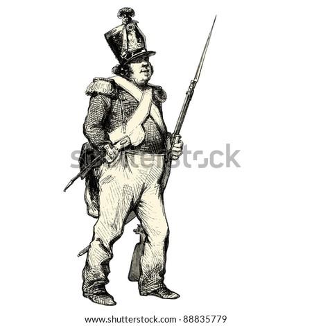 The soldier - Vintage engraved illustration -