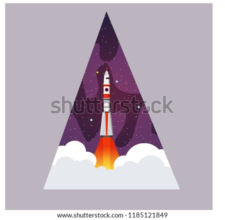 the space rocket takes off