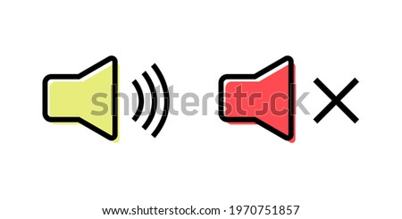 The speaker is loud and quiet. Isolated icon vector illustration Stock photo ©