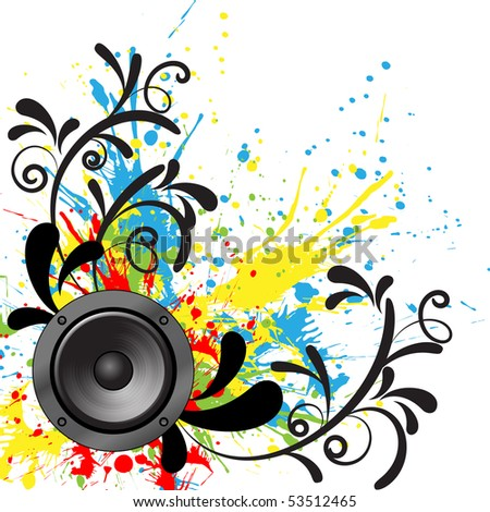 The speaker on the background of blots. Vector