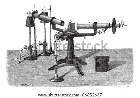 The Spectroscope or Spectrophotometer or Spectrometer or Spectrograph, vintage engraved illustration. Magasin Pittoresque 1874.