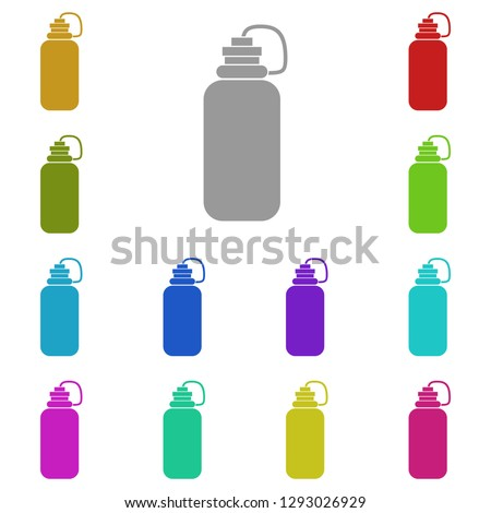 The sports water bottle, flask icon in multi color. Simple glyph, flat vector of gym, sport icons for UI and UX, website or mobile application
