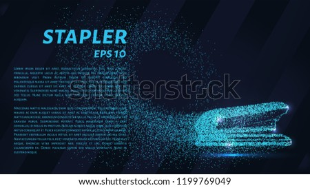 The stapler of the particles. The stapler consists of small circles and dots. Vector illustration.