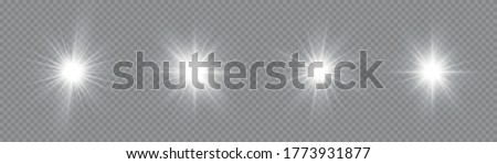 The star burst with brilliance, white sun rays, set of white glowing light burst on a transparent background, glow bright stars, light effect, flare of sunshine with rays, vector illustration, eps 10. Сток-фото ©