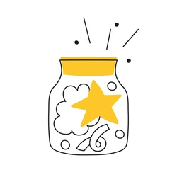The star in a glass jar. A dream and a miracle, the concept of great idea and imagination. Thin line vector illustration on white.