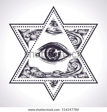 Royalty Free The Star Of David With All Seeing Eye 521657623 Stock