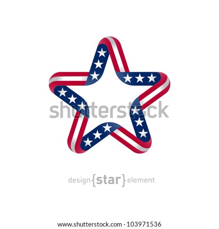 The star with american flag colors and symbols vector design element