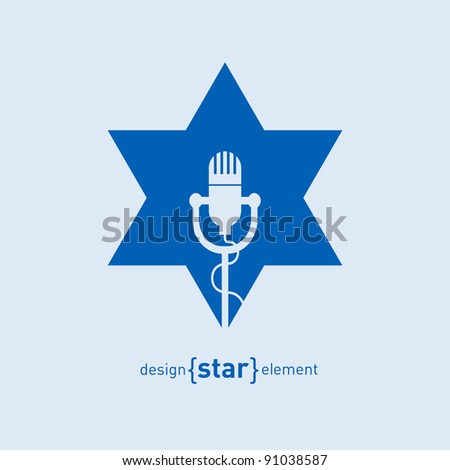 The Star with microphone Abstract design element