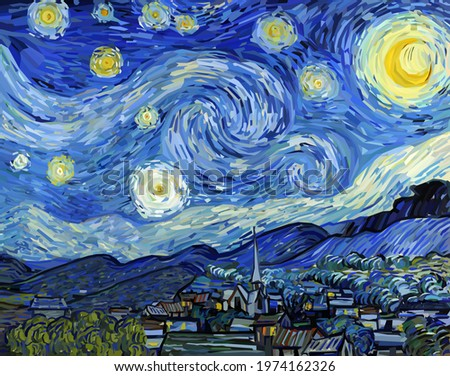 The Starry Night - Vincent van Gogh painting in Low Poly style. Conceptual Polygonal Vector Illustration