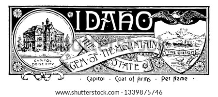 The state banner of Idaho the gem of the mountain state this state has state house and below CAPITOL BOISE CITY in right side shield shape with horse rider and bullock cart on top flying eagle vintage