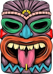 The statue characteristic of tiki island with the tongue out and purple colour