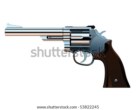 the steel revolver with a wooden handle