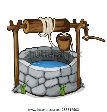 The stone well with a bucket and drinking water isolated on a white background. Cartoon vector close-up illustration. Stock photo ©