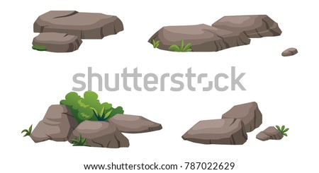 The stones and shrubs isolated on white background.