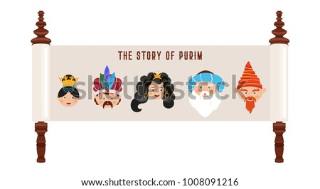 Happy purim vectors download free vector art stock graphics images the story of purim with traditional characters jewish ancient scroll banner template vector stopboris Image collections