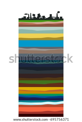 The structure of the earth. Cartoon scheme. Isolated on white background. Geology scheme.
