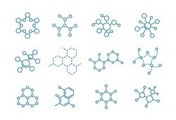 The structure of the substance. Molecule of the formula. Set of scientific icons. Outline contour line flat vector illustration clipart.