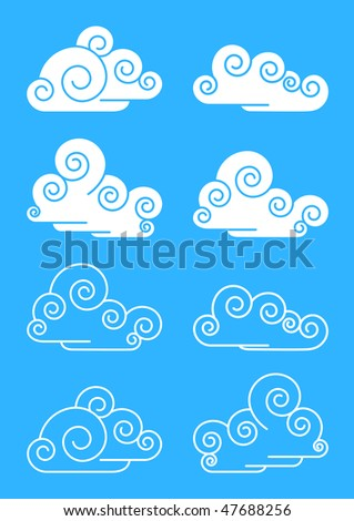 the stylised clouds a vector