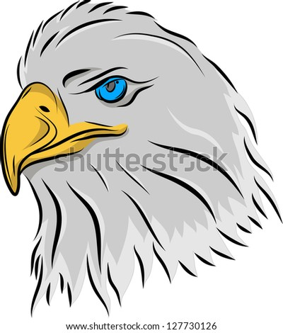 The stylized head of an eagle