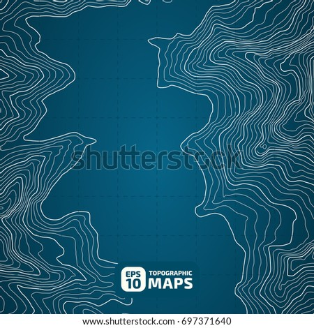 The stylized height of the topographic contour in lines and contours. Blue Background. The concept of a conditional geography scheme and the terran ipath. Vector illustration