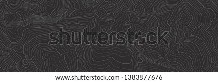 The stylized height of the topographic contour in lines and contours. The concept of a conditional geography scheme and the terrain path. Black & White. Ultra wide size. Vector illustration.