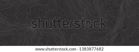 The stylized height of the topographic contour in lines and contours. The concept of a conditional geography scheme and the terrain path. Black & White. Ultra wide size. Vector illustration. EPS10