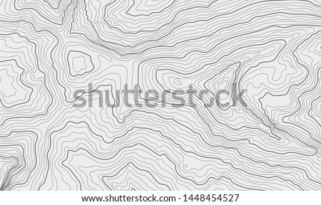 The stylized height of the topographic contour in lines and contours. The concept of a conditional geography scheme and the terrain path. Black & White. Vector illustration.