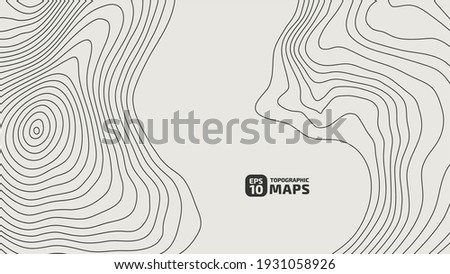 The stylized height of the topographic contour in lines and contours. The concept of a conditional geography scheme and the terrain path. Vector illustration. Photo stock ©
