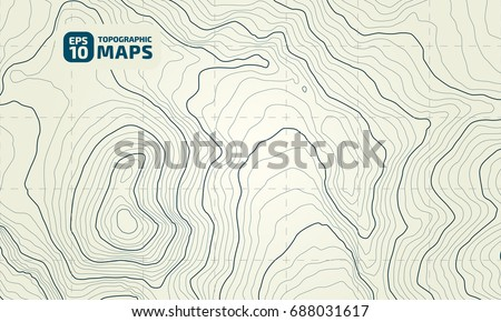 The stylized height of the topographic contour in lines and contours. The concept of a conditional geography scheme and the terrain path. Vector illustration
