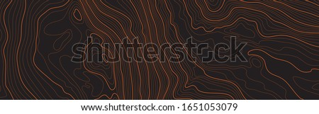 The stylized height of the topographic map contour in lines and contours. The concept of a conditional geography scheme and the terrain path. Orange on black. Ultra wide size. Vector illustration. Photo stock ©