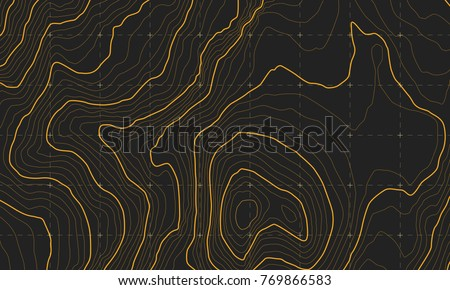 The stylized height of the topographic map contour in lines and contours. The concept of a conditional geography scheme and the terrain path. Orange lines on a dark background. Vector illustration.