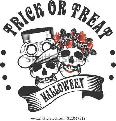 the stylized logo with a skull for a holiday Halloween in round shape Black and white color