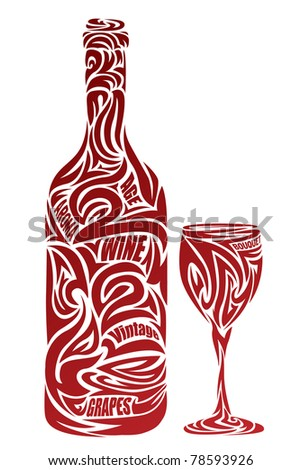 The stylized wine glass and bottle
