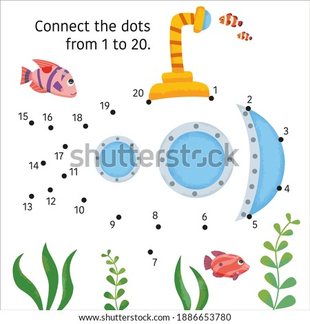 The submarine, ship. Dot to Dot. Connect the dots from 1 to 20. Game for kids. Vector illustration.