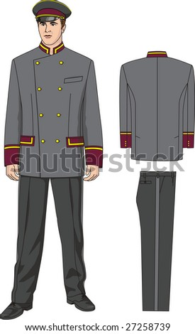 The suit of the door-keeper consists of a jacket, trousers and a peak-cap.