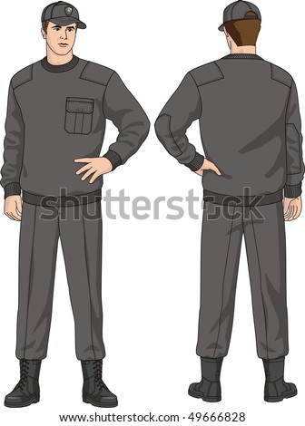 The suit of the security guard consists of a jumper, trousers, a cap and boots