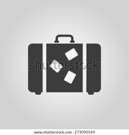 The suitcase icon. Luggage symbol. Flat Vector illustration