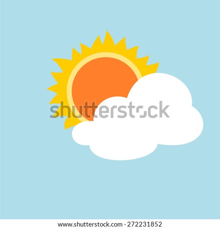 the sun and cloud weather  icon