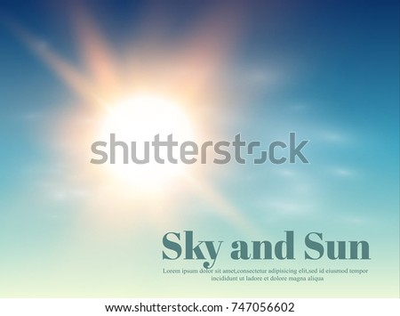 The sun and sky. Weather and forecast a Transparent background. Vector illustration.