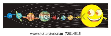 The sun and the planets holding each other by the hand, enjoying the ride through the solar system / starry background - color vector cartoon illustration