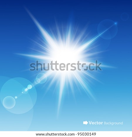 The sun in the blue sky. Vector illustration.