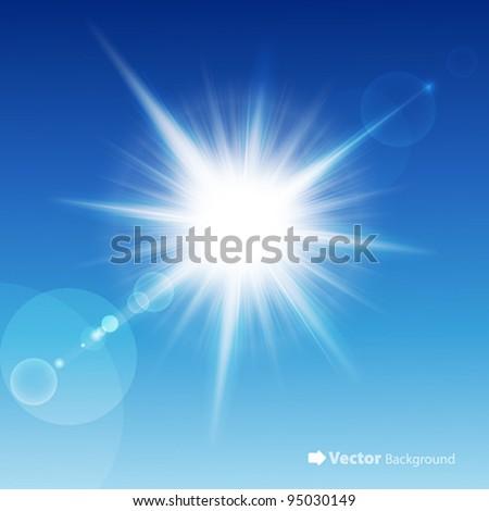 The sun in the blue sky. Vector illustration.