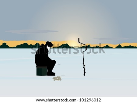 The sun on the horizon of the forest stands over the snow-covered pond. A man catches a fish winter fishing rod in the hole.
